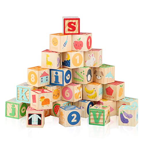 """Joqutoys Wooden ABC Building Blocks for Toddlers, 1.65"""" Alphabet and Number Stacking Baby Blocks,..."""