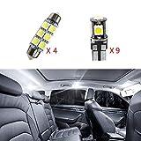 Cobear Fit pour Q5 12V Blanc Pas De Polarité LED Ampoules de Voiture Intérieur Lampe Remplacer pour Halogène ou HID Ampoules 13 pcs