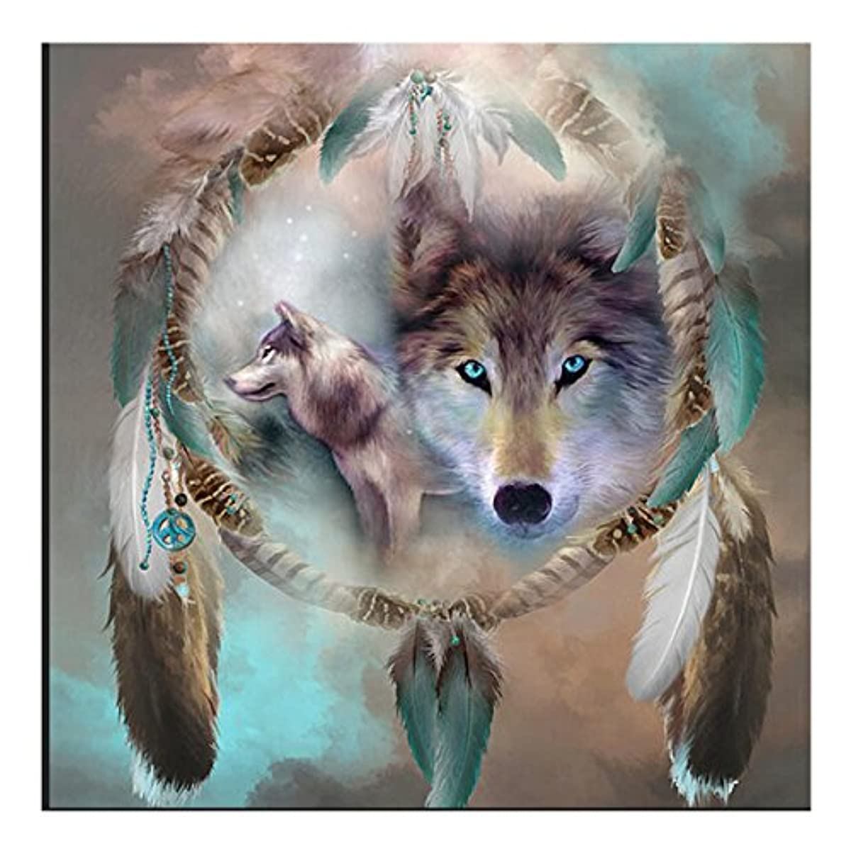 eZAKKA DIY 5D Diamond Painting by Number Kits, 20x20CM/9x9 Inches Wolf Dreamcatcher Diamond Art Kits Crystal Rhinestone Embroidery Pictures Full Square Drill for Adults Home Wall Decor