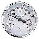 Lantelme Termometro riscaldamento manicotto a immersione 120 °C termometro a immersione per acqua fredda quadrante nero Termometro analogico riscaldamento bimetallico 4672