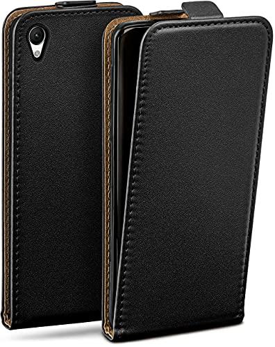 moex Flip Hülle für Sony Xperia Z5 Premium - Hülle klappbar, 360 Grad Klapphülle aus Vegan Leder, Handytasche mit vertikaler Klappe, magnetisch - Schwarz