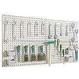 Wallmaster Pegboard Organizer Garage Storage - 48pcs Pegboard Hooks Set, Pegboard Tool Organizer with 48x24 Inch Steel Peg Board & 4 Storage Bins (Beige)