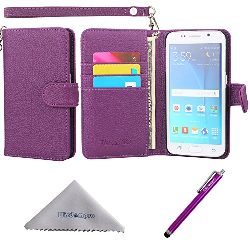 Wisdompro S6 Edge Case, Premium PU Leather 2-in-1 Protective Folio Flip Wallet Case with Credit Card Holder Slots and Wrist Lanyard for Samsung Galaxy S6 Edge Only - Purple