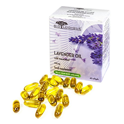 Lavender Pure Oil 500mg, Natural Stress and Anxiety Relief, comforting, Calming and ameliorates mild Sleep Disorders, 100% Pure & Natural Cold macerated Extract, 40 softgel Capsules