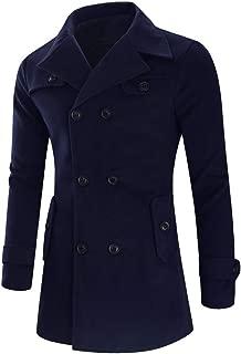 Fashionhe Men's Jacket Warm Winter Trench Coats Woolen Long Outwear Button Smart Overcoat