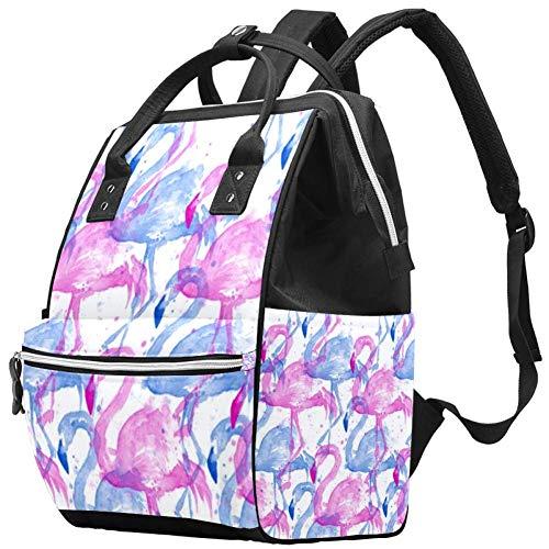 Watercolor Flamingo Travel Rucksack Casual Daypack Maternity Nappy Bag Organizer Nursing Bottle Bag