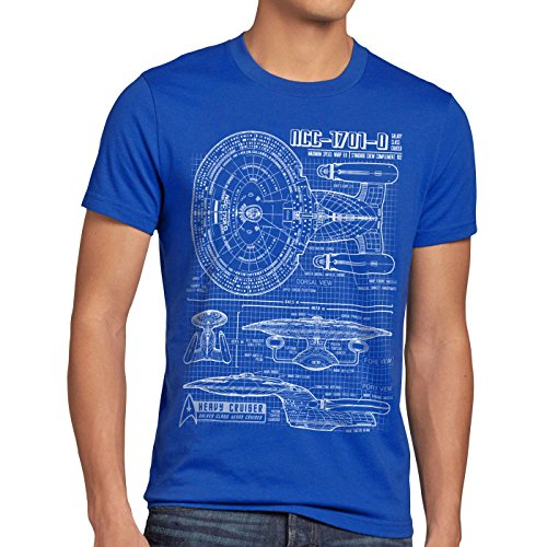 style3 NCC-1701-D Cianotipo Camiseta para Hombre T-Shirt Fotocalco Azul Trek Trekkie Star, Talla:M, Color:Azul