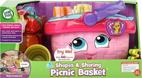 LeapFrog 603603 Shapes & Sharing Picknickkorb Babyspielzeug Pädagogisch und interaktiv 16 Teile für kreatives und Lernspiel für Jungen & Mädchen 6 Monate, 1,2,3 Jahre, Rosa, Einheitsgröße