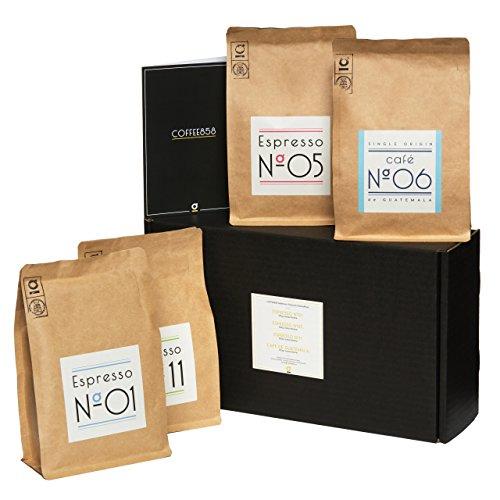 Probier-Paket von Coffee858 – 4 x 250g Handgerösteter Premium Kaffee und Espresso – Das Geschenk-Set für Kaffeekenner – ganze Bohnen
