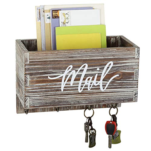 MyGift Rustic Torched Wall Mounted Decorative Mail Sorter Letter Holder Box with 4 Key Hooks, Modern Cursive Mail Print