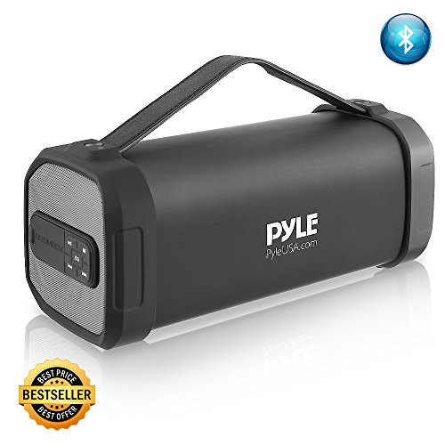 Pyle Wireless Portable Bluetooth Speaker - 150 Watt Power Rugged Compact Audio Sound Box Stereo System with Rechargeable Battery, 3.5mm AUX Input Jack, FM Radio, MP3, Micro SD and USB Reader - PBMSQG9