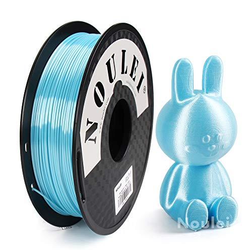 Noulei Shiny PLA Filament 1.75mm Silk Light Blue, 3d Drucker printer Filament PLA 500g Spool