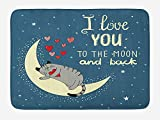 BTGSRK I Love You Bath Mat, Sleepy Cat Holding Hearts Over The Moon at Night Sky, Plush Bathroom Decor Mat with Non Slip Backing,Slate Blue Warm Taupe Pale Yellow 23.6(L) X15.7(W)