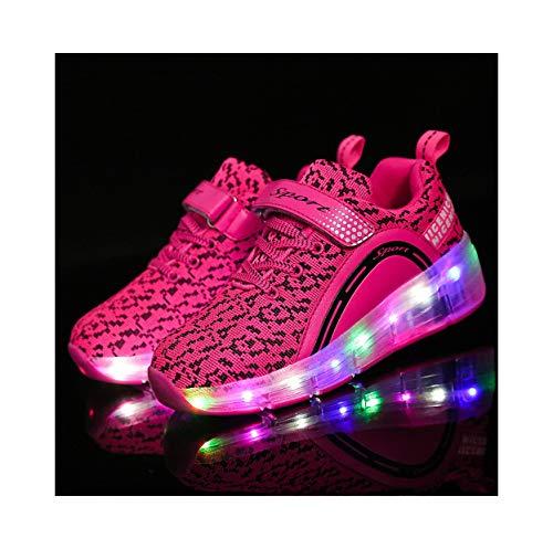 FZ FUTURE Mädchen LED Rollschuhe mit Räder Skateboardschuhe mit Rollen Roller Skate Schuhe Sneakers Light Rollschuhe Wheels, für Kinder Mädchen Junge Erwachsene,28