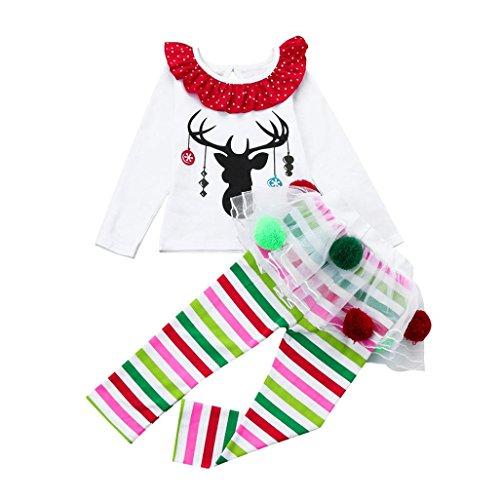 Hirolan Weihnachten Partnerlook Babykleidung Kinder Hirsch Drucken T-Shirt Baby Mädchen Tops + Gestreift Hose Tüll Tutu Kleid Mini Blase die Röcke Festliche Kinderkleidung Outfits Set (110, Weiß)