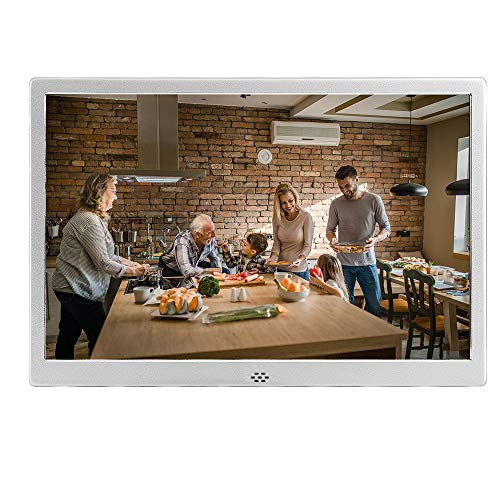 12 Inch Digital Picture Frame with 1280x800 IPS Screen,1080P Video Player/Calendar/Clock/Background Music for Photos/Multi Slideshow Modes with Remote Control (Silver) Digital Frames Picture