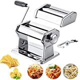 Manual Pasta Maker Machine,410 Grade Stainless Steel Noodle Cutter,Washable Pasta Roller with Hand Crank,Adjustable Thickness Settings Noodles Maker,2 Blades (Silver)