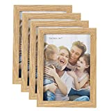 HelaCueil Cadres Photo en Bois, Vintage Cadre en Bois Rustique Cadre Photo (Couleur du Bois, Lot de 4 en 13x18 cm)