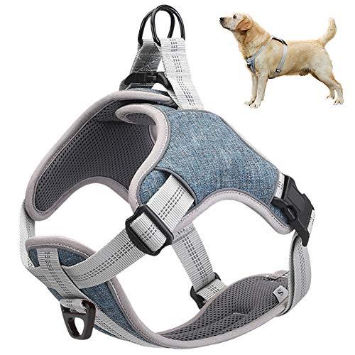 Arnés para perros sin tirón, mejor entrenamiento reflectante para caminar al aire libre, malla acolchada en el pecho transpirable ajustable, con regalo 1 campana pequeña gratis