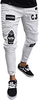 Fulision Men's Skinny Jeans Embroidered Worn Man Slim fit Pencil Pants Stretch Trousers Light Hole Pants