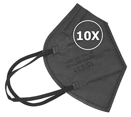 TBOC FFP2 Masken - [Packung 10 Einheiten] Einwegmasken [Schwarz] 5 Schichten [Nicht wiederverwendbar] Atmungsaktives Falten mit Nasenklemme [Zertifiziert und Genehmigt CE 2163] Premium Qualität