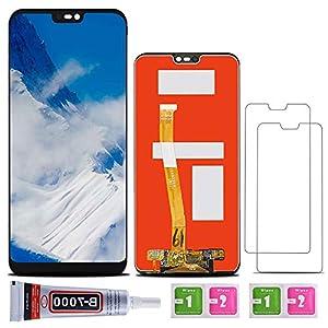 SHANCHU Huawei P20 Lite, pantalla LCD táctil completa ensamblada reemplazo con cristal templado [juego de 2], B-7000 pegamento, bolsa de alcohol