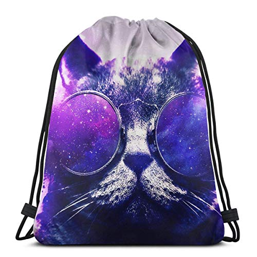 Drawstring Stuff bagsGym Bag Galaxy Cat Adjustable Straps Drawstring Backpack Bags Sports Gym Sackpacks String BackpacksSack Cinch Bag36 X 43CM