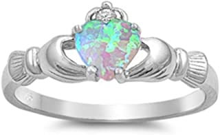 Rosa Saphir Claddagh Herz Künstlicher Diamant Keltisch Sterling Silber Ring Set