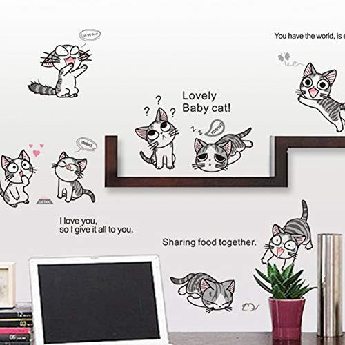 TAOYUE Kaas kat Muursticker PVC Leuke Kitty Spelen Levende Kinderen Kamer Achtergrond Stickers op De Muur DIY Home Decor Sticker