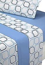 SABANALIA - Juego de sábanas Estampadas Spring (Disponible en Varios tamaños y Colores), Cama 90, Azul