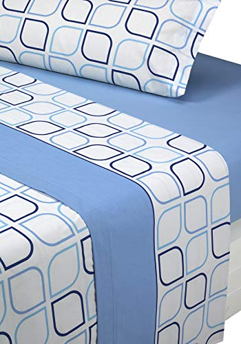 SABANALIA - Juego de sábanas Estampadas Spring (Disponible en Varios tamaños y Colores), Cama 150, Azul