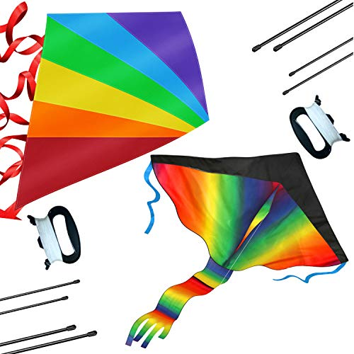 2 Pack Rainbow Kite and Diamond Kites for Kids - Easy to Assemble and Fly, Soars High in Low Wind Speeds - A Great Way to Enjoy and Spend Time with Friends and Family, Kites for Boys and Girls