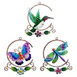 Asunny Metal Hummingbird Dragonfly Butterfly Wall Art Decor, Hand-made Wall Sculpture Decoration for Living Room Bedroom Garden Porch Patio, Ornament for Indoor and Outdoor, 3Pack 9Inch, Gifts for Mom