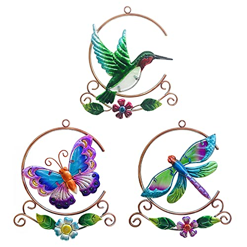 J-Fly Metal Hummingbird Dragonfly Butterfly Wall Art Decor, Hand-made Wall Sculpture Decoration for Living Room Bedroom Garden Porch Patio, Ornament for Indoor and Outdoor, 3Pack 9Inch, Gifts for Mom
