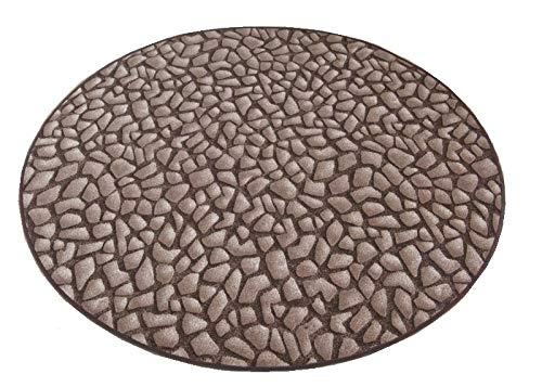 havatex Kinderteppich Hot Stone rund - Farbe: Braun | schadstoffgeprüft pflegeleicht |schmutzresistent strapazierfähig |Küche Kinderzimmer Spielzimmer, Farbe:Braun, Größe:150 cm rund