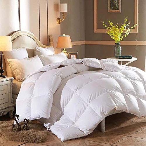 King Size Duvets White goose Feather and Down Duvet -100% Cotton Anti Dust Mite & Down Proof Cover-10.5 Tog, Double Size-white_200x230cm-4000g