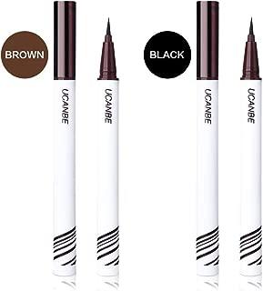 UCANBE Black Brown Liquid Eyeliner Set 2 Pens Waterproof Long Lasting Eye Liner Smudgeproof Cruelty Free Professional Makeup Pencil for Precise Application