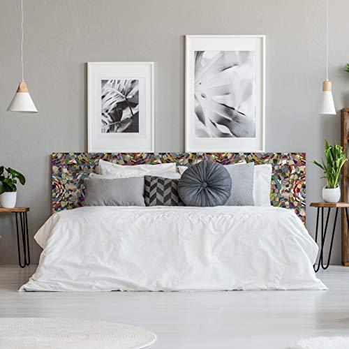 Megadecor Kopfteil für Bett aus PVC, dekorativ, ökonomisches Design, Mosaik, Steine, mehrfarbig, verschiedene Größen