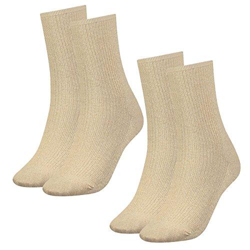 Tommy Hilfiger Damen Glitter Socken 2er Pack, Größe:39-42, Farbe:Gold (393)