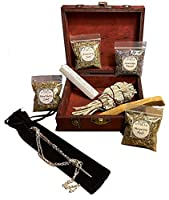 Witchcraft Starter Kit for Beginners w Book of Shadows Spell Book Witchcraft Apothecary Cabinet Wand Crystal Witchcraft Wooden Box Included