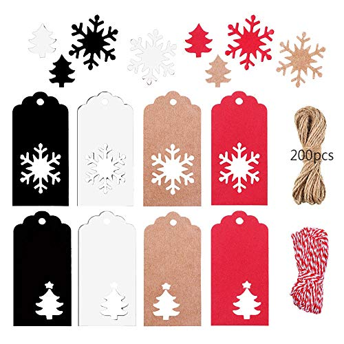 Anyingkai Etiquette Cadeau Noel,étiquettes de Cadeau de Noël avec Ficelle,Papier Kraft étiquettes,étiquettes en Papier de Noël, étiquettes Noel (Coloré)