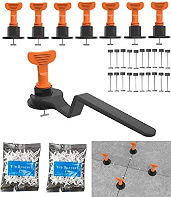 Tile Leveling System include 100 pcs Tile Leveler Spacers, 1000 PCS 2mm Tile Spacer,4pcs Special Wrench and 20 pcs 1/16 Spare Steel Pin for Living Room Shower Floor Tile Leveler Tools for Installation