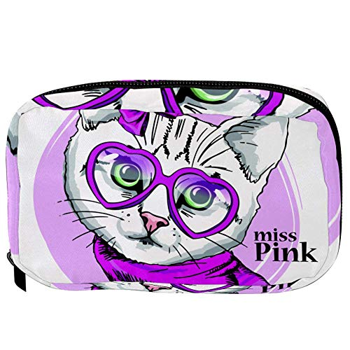 TIZORAX Cosmetic Bags Cat In Pink Glasses Scarf And Bow Handy Toiletry Travel Bag Organizer Makeup Pouch for Women Girls