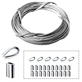 Amadget Stainless Steel Wire Rope, 316 Marine Grade Cable Railing Kit, Aircraft Wire Rope & Picture Hanging Kit for Railing, Decking, DIY Balustrade, Boat Marine Hardware (1/16' x 33 Feet)