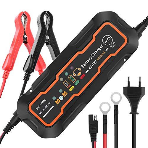 KYG Chargeur de Batterie pour Voiture 6/12V 5A, Mainteneur de Batterie Intelligent avec...