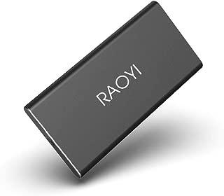 RAOYI 外付けSSD 1TB USB3.1 Gen2 ポータブルSSD 転送速度最大550MB/秒 PS4動作確認済 超薄型・超高速Type-A/Type-C 耐衝撃 防滴 黒(2年保証)