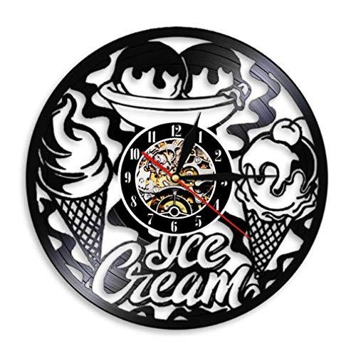 NIUMM Reloj De Pared De Vinilo Heladería Negocio Reloj De Pared Decoración De Cocina Diseño Moderno Cono De Helado Reloj De Pared De Vinilo Vintage-No_Led