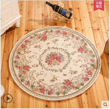 Carpet - Round Jacquard Countryside for Living Room Flower Bedroom Rugs and Carpets Computer Chair Floor mat Cloakroom Area Rug - by LEV - 1 PCs