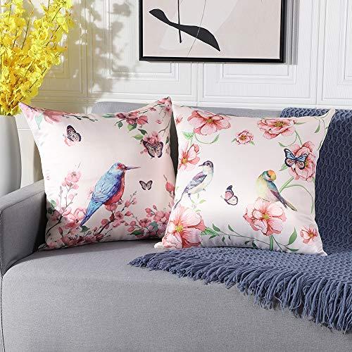 Artscope Weiche Faux Seide Kissenbezuge, 2er Set Retro Vogel Schmetterling Blume Muster Kissenhüllen Kissen Fall für Sofa Auto Schlafzimmer 45x45cm-Rosa