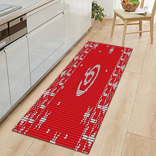 XIAOZHANG Door rug Creative art red texture Crystal velvet door mat indoor outdoor carpet corridor floor bedroom living room study rugs Non-slip absorbent 60x180CM